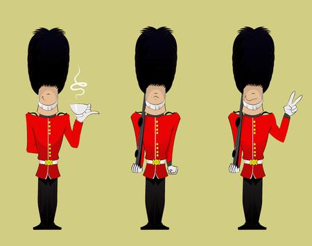 3 つのイギリスの兵士の漫画。楽しさのベクトル図を文字  イラスト・ベクター素材