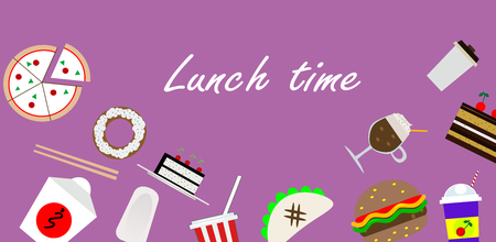 Luch time background with pizza, asian and mexican food.  Vector flat illustrations.