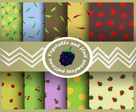 chili pepper: Vegetables and fruits seamless pattern.