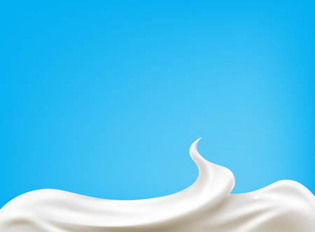 Realistic sour cream isolated on blue background. Milk design. Vector Illustration