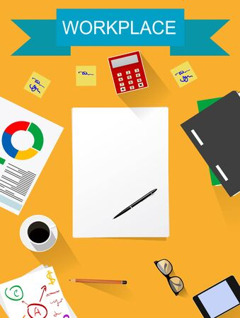 conception: Office desk ,working place flat illustration. Work organization, work, creativity conception Illustration
