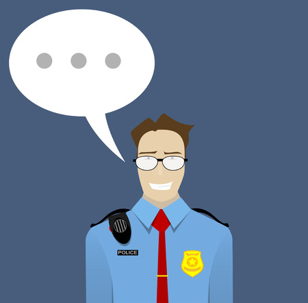 The friendly policeman warns conveyed important message, urges to follow the rules, the law. Flat vector illustration