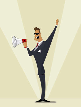 announcement message: Business man shouting in a megaphone. Man announcing through loudspeaker advertising. Announcing promotion and banners concept. Vector illustration in a flat design style