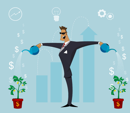 conception: Happy  business person watering growing plant with money flower. Growing business concept. Personal effectiveness, profit, growth rates conception. Vector cartoon design