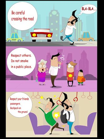 issue: Information warning posters in cartoon style, Vector
