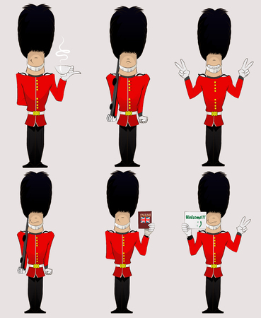 cartoon hat: Three British Soldiers with weapon, Enlish dictionary, welcome sign, cup of tea and peace sign  . Honorary royal guard, Beefeaters vector set. Illustration