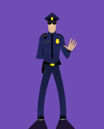 hand guard: Cartoon doodle security guard or police officer holding hand up stop sign on dark background. Vector illustration