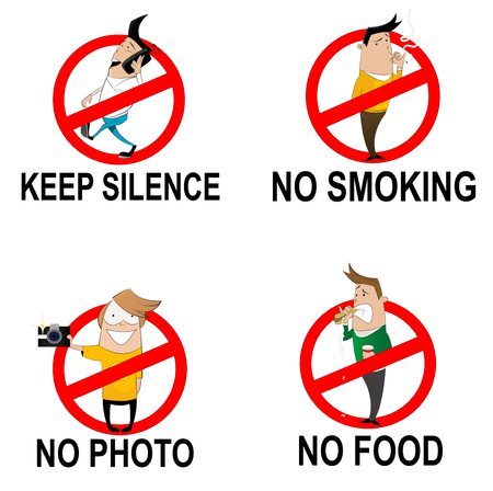 no food: Prohibitory signs in cartoon style. Do not smoke, do not eat, do not take photo, do not make noise in  public place. Vector