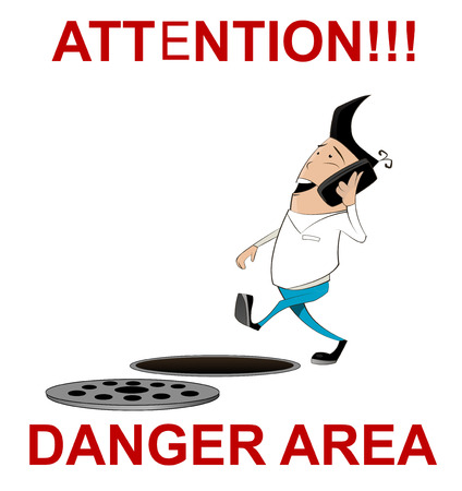 sunroof: Attention, danger area illustration sign in cartoon style. Warning sign with warning sign with  guy talking on the phone and not seeing the hole in front of him. Vector Illustration