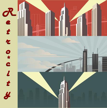 megapolis: Three cityscape horizontal  Cartoon city in different color variations. Retro banner megapolis. Vetor