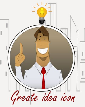 Businessman with ideas. Happy funny cartoon character on simple city background. Easy to edit. Vector illustration