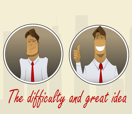 finger up: Sad or pensive office worker and satisfied, happy worker with finger up. Vector character illustration