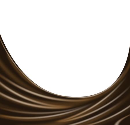 white wave: Dark chocolate wave on white background. Vector Illustration