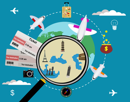 Vector tickets and globe, travel concept.