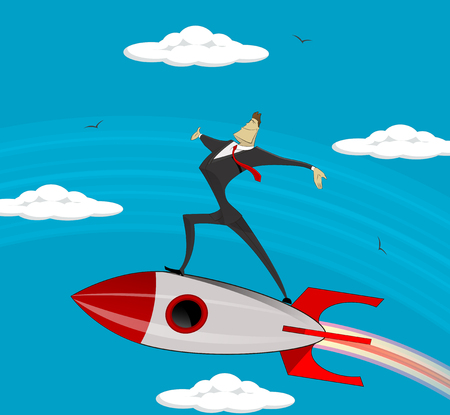 accelerating: Flying Businessman Cartoon vector design for Business growth, success and start up. Illustration