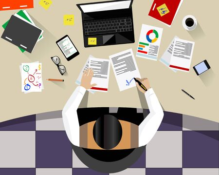 Business Man Sitting Desk Office Working Place Laptop Back Rear View Flat Vector Illustration 일러스트
