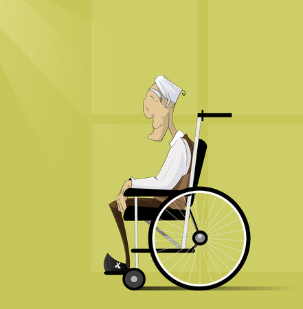 home care nurse: Old man, senior with grey hair sit in wheelchair. Illustration