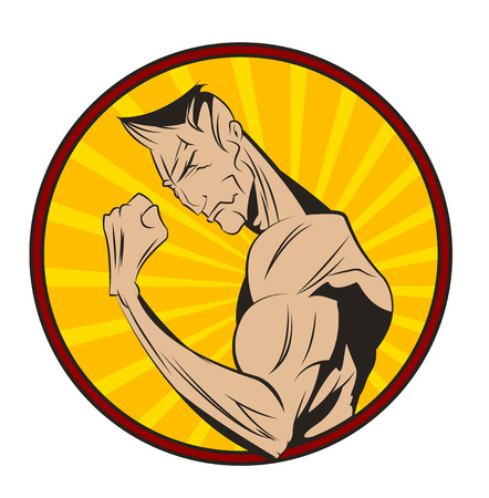 life style: Bodybuilder shows his biceps. Healthy life style illustration. Vector