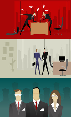 lawer: Three illustrations of businessmen with conflict, make deal and an illustration of the selection of personnel.