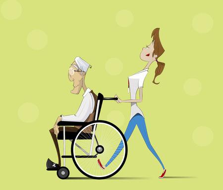 social worker: Social worker strolling with elder man in wheelchair. Vector flat illustration