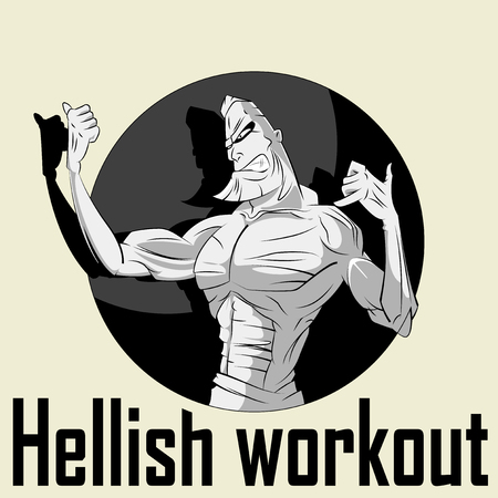 muscular body: Bodybuilder Workout character with muscular body Illustration