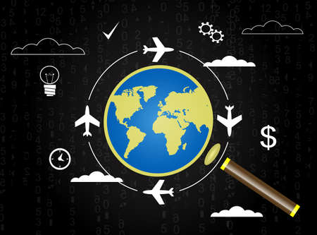 airway: Search convenient flight, planning air travel, vacation concept modern backround with magnifier and globe. Vector Illustration