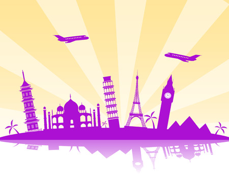 Travel background  vector illustration with silhouettes of flying aircraft and the world landmarks