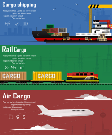 Logistic concept flat banners set of maritime rail and air transport delivery services. Vector illustration Illustration