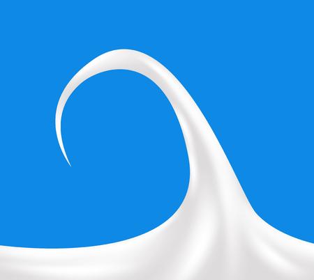 sour cream: Realistic sour cream isolated on blue background. Milk design. Vector Illustration