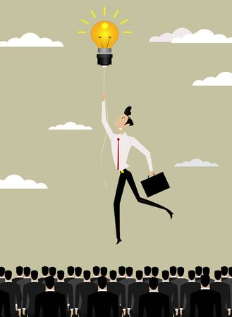 Businessman flying over crowd .Freedom of thought, Ideas and creativity concept