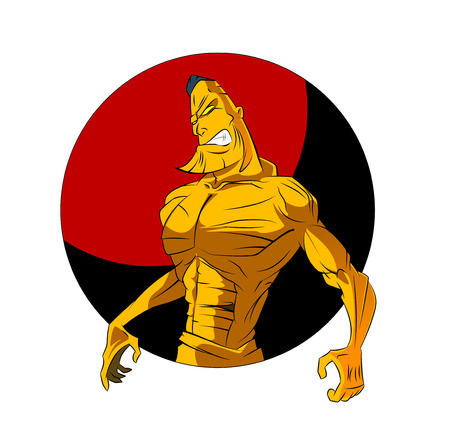 pumped: Sketch Vector Illustration: bodybuilder. strong muscular man. athlete or fighter