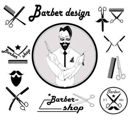 ビンテージ理髪店ロゴ、ラベル、バッジおよびデザイン要素のセット  イラスト・ベクター素材