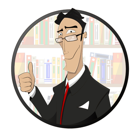 adviser: Cartoon illustration of lawyer, attorney, jurist vector logo design template.