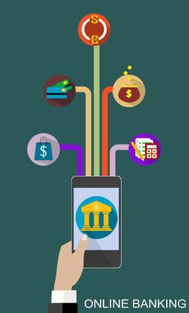 Piatti design illustrazione vettoriale concetto di servizio di online banking. Icone per gataway pagamento online, pagamenti mobili, trasferimenti elettronici di fondi e bonifico bancario.