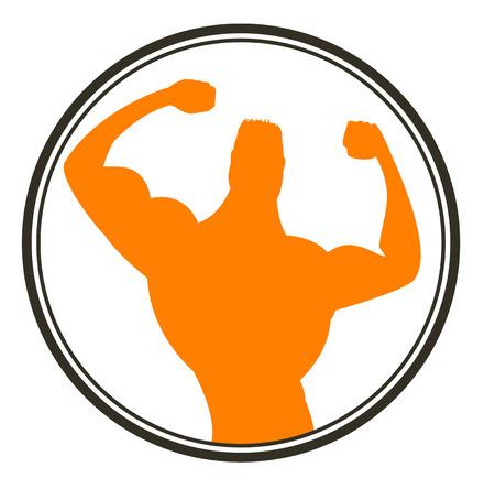 Uomo forte. Sportivo. Muscoli body building. Vector icon.
