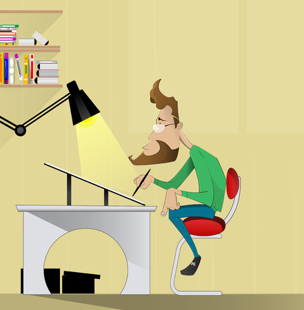 a fellow: fellow illustrator, graphic designer, artist sitting at a table and drawing. Cartoon vector. creative profession Illustration