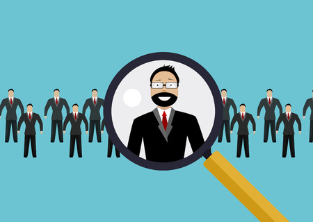 finding: Vector illustration of finding professional staff with magnifying glass.
