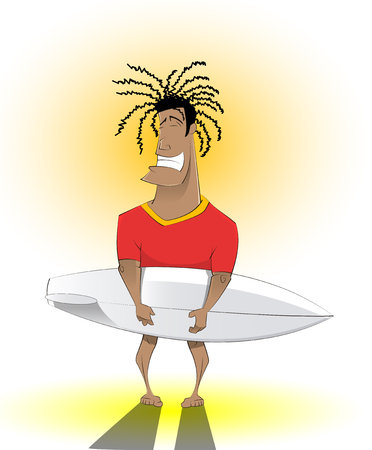 Smiling surfer man with Surfing Board. Vacation, travel, Summer Holiday Ocean Beach Vector Illustration Illustration