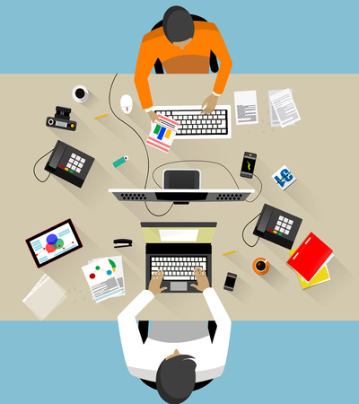Two Business People  at their working places. Office work vector illustration
