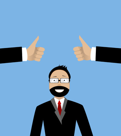 two thumbs up: Happy businessman and two hands with thumbs up. Likes and positive feedback concept. Creative illustration Illustration