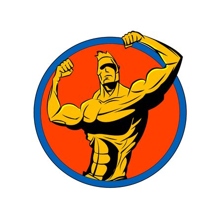 Bodybuilder from the front double biceps. Sports symbol.
