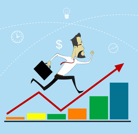 Businessman Arrow Up. Businessman with briefcase running up the growth curve parameters. Conceptual image of business success, career growth, profit growth. Vector
