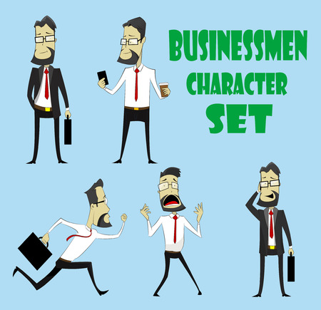 Set of businessman characters posesand emotions. He speaks on the phone, looking at smart phone, running, panicking, just standing. Vector Illusztráció