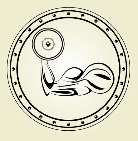 flex: Strong flex arm icon.Biceps icon.Vector sport illustration