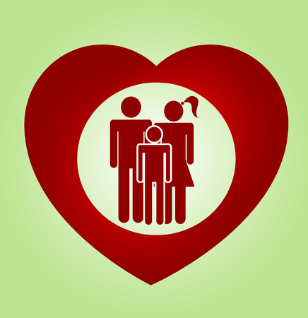 mom and son: Abstract heart family vector symbol. Insurance concept illustration Illustration