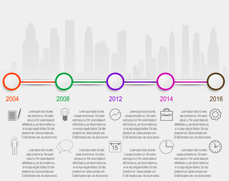 Timeline infographics vector design template. Layered vector Illustration