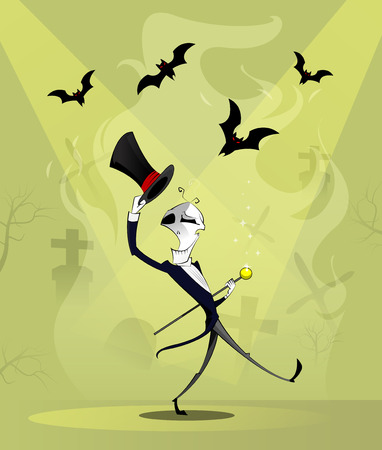 jive: Fun character dancing skeletons with cane and cylinder. Halloween cartoon concept. Layered vector illustration Illustration