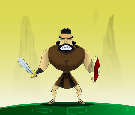 enemies: The figure shows male. Roman gladiator in cartoon style.