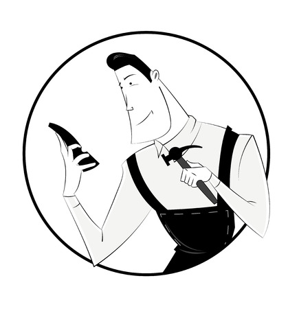 mature men: Black and white cartoon shoemaker  man with hammer tool and  shoes. Profession icon