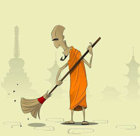 the courtyard: Elderly Buddhist monk sweeps the courtyard of the monastery. The concept of religion, faith